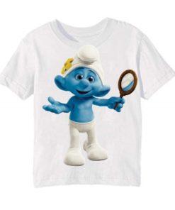 White Cartoon Character Bluish Kid's Printed T Shirt