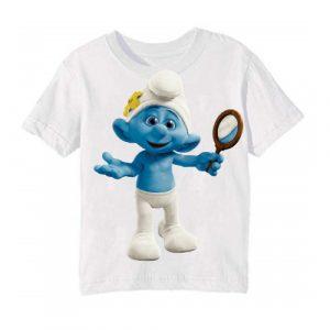 Printe5 White Cartoon Character Bluish Printed Kid's T Shirt