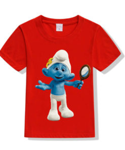 Red Cartoon Character Bluish Kid's Printed T Shirt