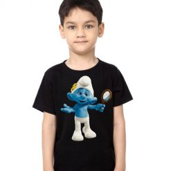 Black Boy Cartoon Character Bluish Kid's Printed T Shirt