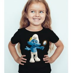 Black Girl Cartoon Character Bluish Kid's Printed T Shirt