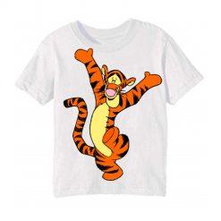 White Dancing Tiger Kid's Printed T Shirt