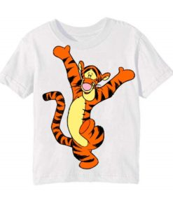 White Dancing Tiger Kid's Printed T Shirt