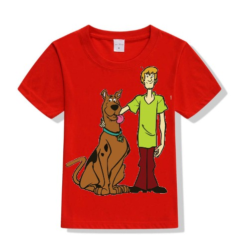 Red Scooby with Shaggy Kid's Printed T Shirt