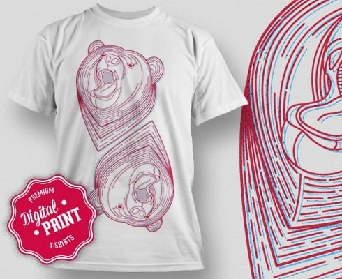 Printe5 Geometric Bear T Shirt