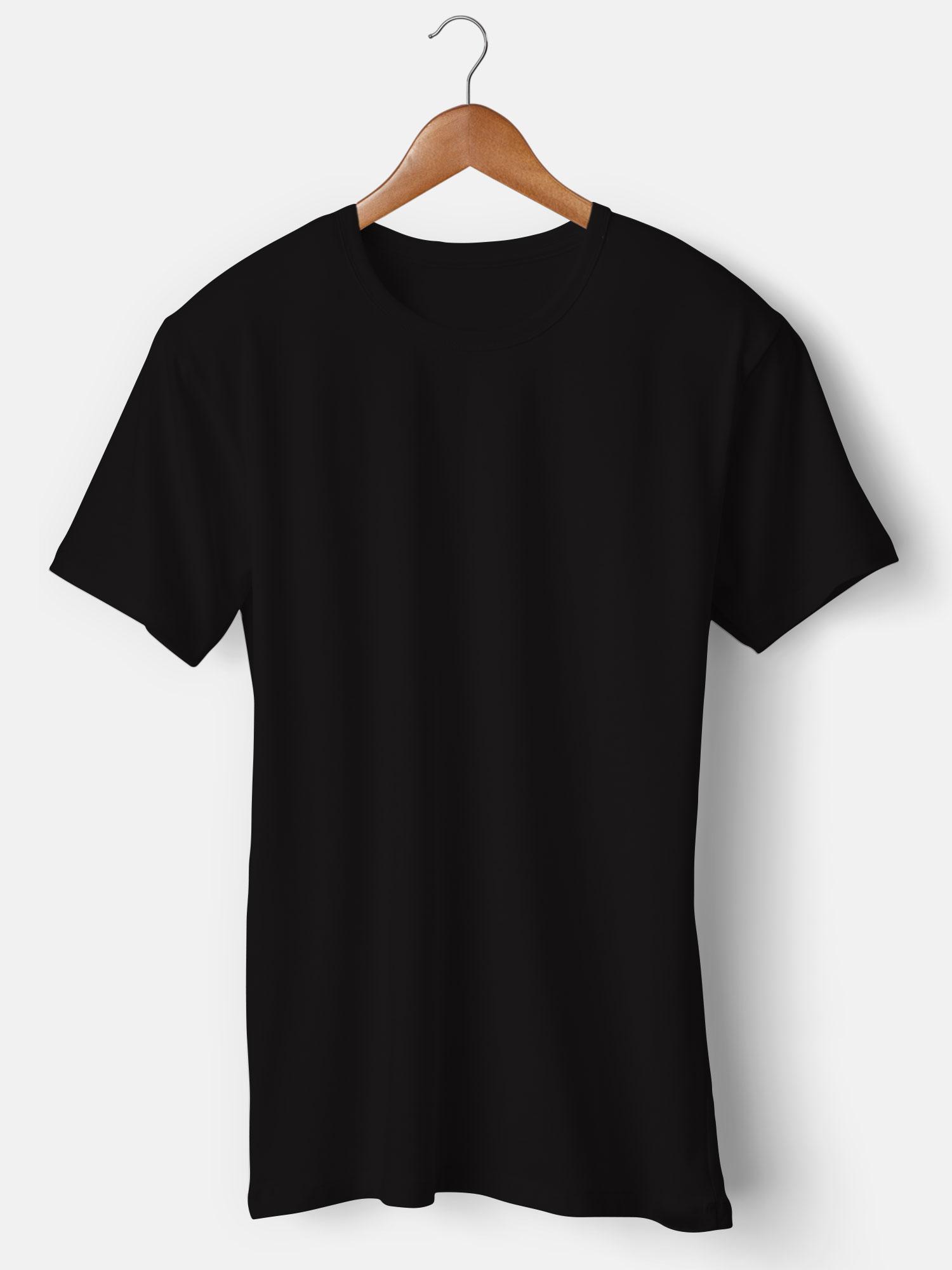 Customized Round Neck Black T-Shirt Printing