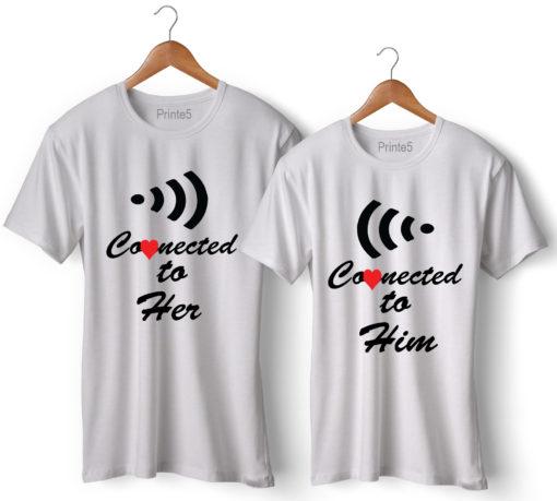 Wifi Printed Couple T-Shirt