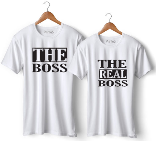 The Boss The Real Boss Printed Couple T-Shirt