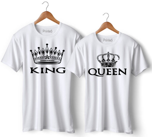 King Queen Printed Couple T-Shirt