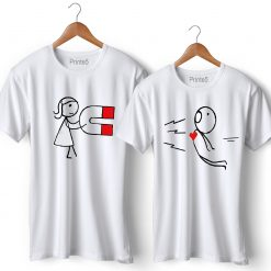 Love Magnet Printed Couple T-Shirt