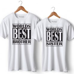 World Best Brother Sister Printed Couple T-Shirt