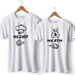 My Chef My ATM Printed Couple T-Shirt