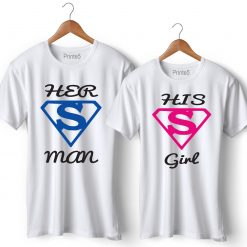 Her Super Man His Super Girl Printed Couple T-Shirt