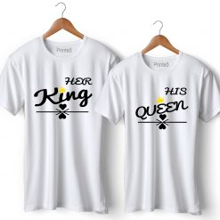 Her King His Queen Printed Couple T-Shirt