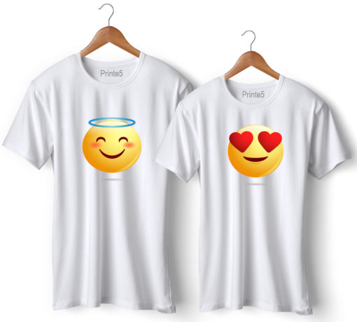 Smiley Printed Couple T-Shirt