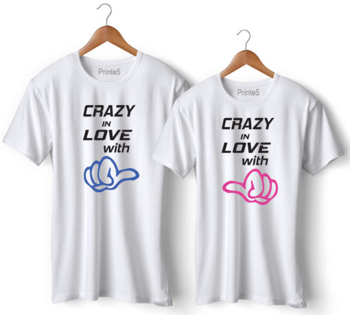 Crazy In Love With Printed Couple T-Shirt