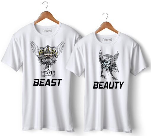 Her Beast His Beauty Printed Couple T-Shirt