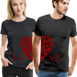 Love Heart Printed Couple T-Shirt