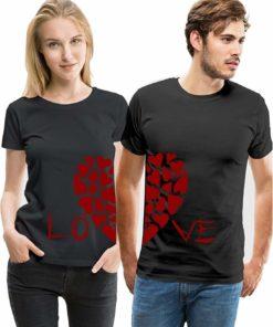 Love Heart Printed Couple T-Shirt