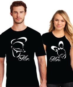 Mr & Mrs Printed Couple Black T-Shirt