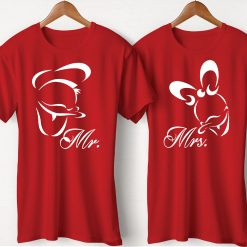 Mr & Mrs Printed Couple Red T-Shirt
