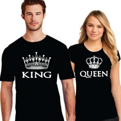 King Queen Printed Couple Black T-Shirt