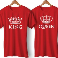 King Queen Printed Couple Red T-Shirt
