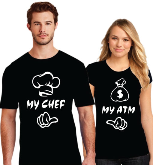 My Chef My ATM Printed Couple Black T-Shirt