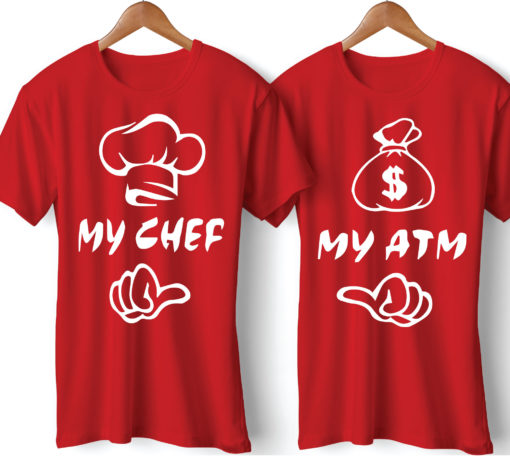 My Chef My ATM Printed Couple Red T-Shirt