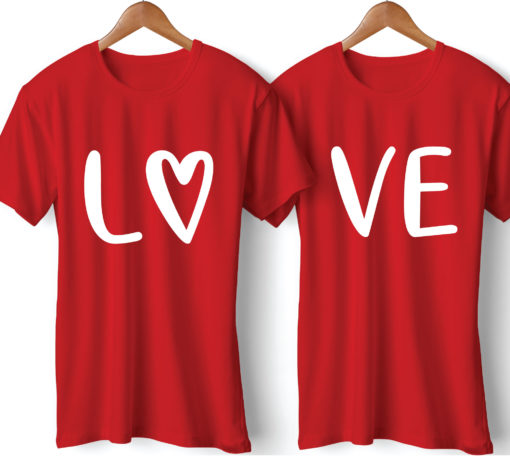Love Printed Couple Red T-Shirt