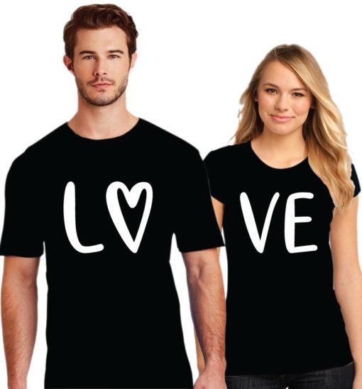 Love Printed Couple Black T-Shirt