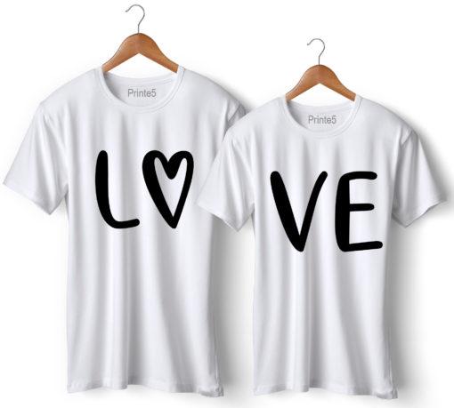 Love Printed Couple White T-Shirt
