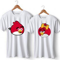 Angry Bird Printed Couple White T-Shirt