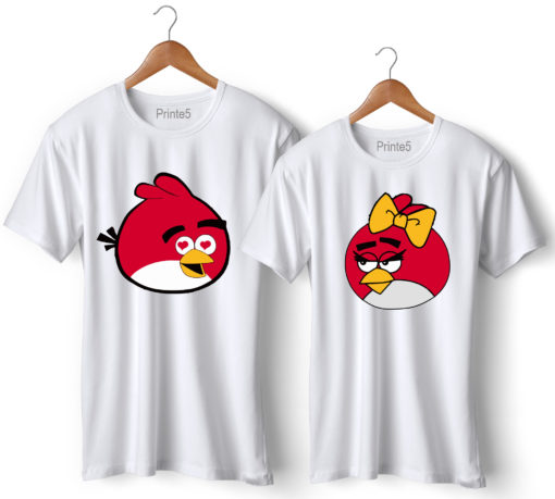 Angry Bird Printed Couple White T-Shirt