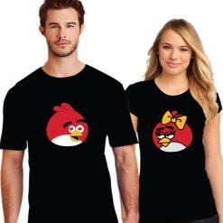 Angry Bird Printed Couple Black T-Shirt