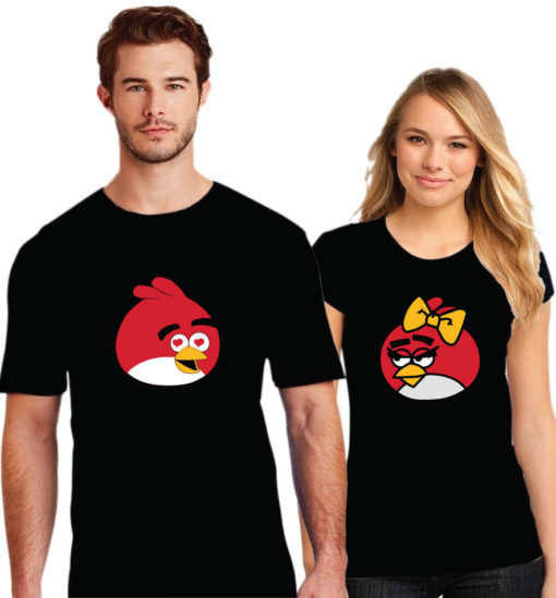 Angry Bird Printed Couple Black T-Shirt