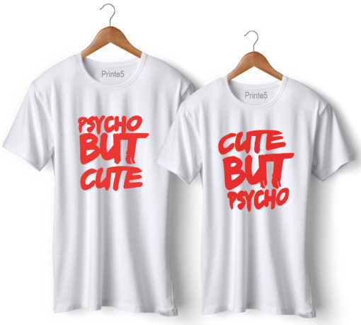Psycho Printed Couple White T-Shirt
