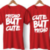 Psycho Printed Couple Red T-Shirt