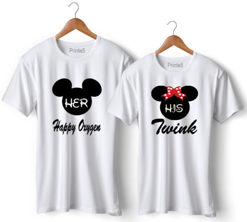 Happy Oxygen Twink Printed Couple White T-Shirt