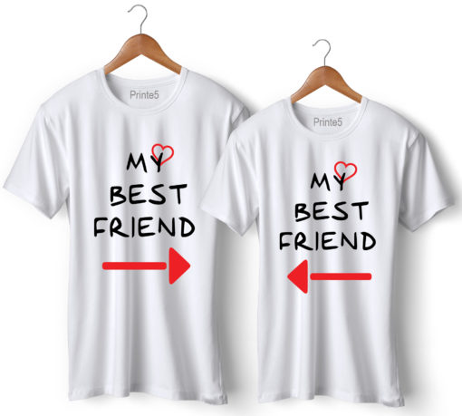 My Best Friend Printed Couple White T-Shirt