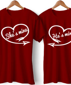 He is Mine She is Mine Printed Couple Red T-Shirt