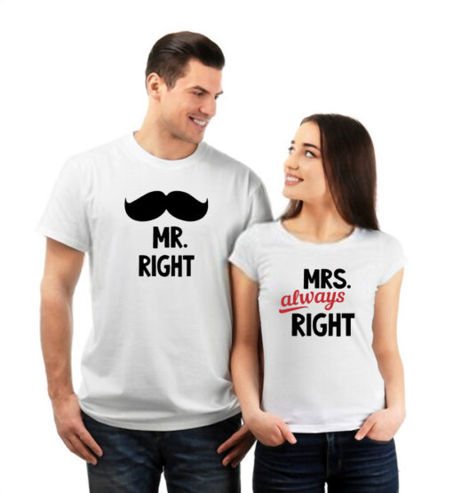Mr Right Mrs Always Right Printed White Couple T-Shirt