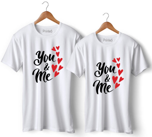 You & Me Printed White Couple T-Shirt