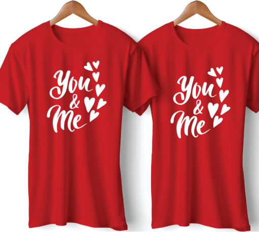 You & Me Printed Red Couple T-Shirt