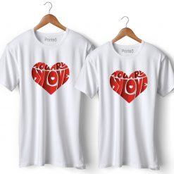 Love Heart Symbol Printed Couple T-Shirt