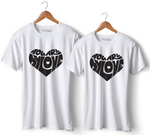 Love Heart Symbol Black Printed Couple T-Shirt