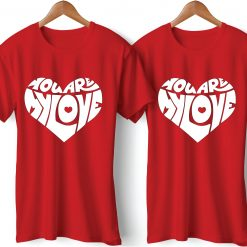 Love Heart Symbol Black Printed Red Couple T-Shirt