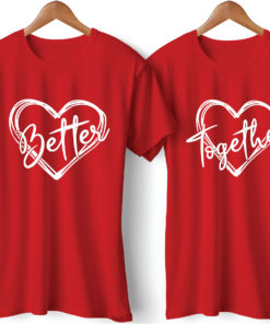 Better Together Printed Red Couple T-Shirt
