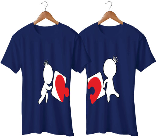 Love Puzzle Printed Couple T-Shirt
