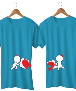 Love Puzzle Printed Blue Couple T-Shirt